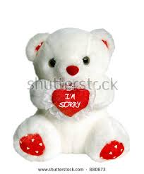 white teddy bear holding heart pillow that says i m sorry