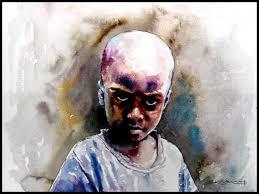 village children 1 painting by artist srv artist watercolor handmade paper