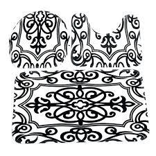 black and white polka dot bath rug toilet mat seat cover bathroom non slip contour set
