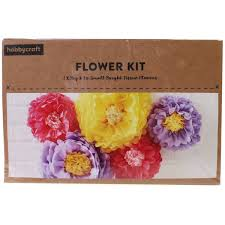 Paper Flower Kit Bright Tissue Paper Flowers 5 Pack