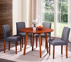 harper bright designs round wood dining table with 4 fabric chairs