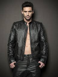 studded leather zipped jacket in black 0 biker jacket designs for boys men