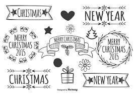 Hand Drawn Vintage Christmas Labels Vector Download