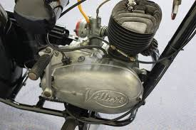 an excelsior consort motorcycle with 98cc single cylinder villiers two stroke engine rigid frame g