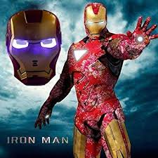 Beautiful Amazon.com: RULONG Halloween Party Cool Cosplay Glowing Iron Man Mask Blue  LED Eyes Halloween Make Up Toy For Kids Adults Light Up Mask In Sock: Beauty