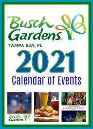 2021 busch gardens ta calendar of