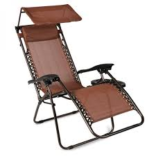 belleze zero gravity canopy sunshade lounge chair cup holder patio outdoor garden brown