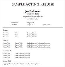 Examples Of Actors Resumes Actors Resume Template Acting Resumes Actor Resume Template