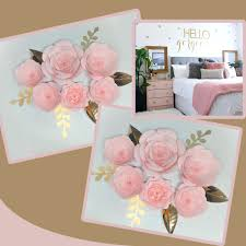 Pink Paper Flower Decorations Us 47 2 20 Off 2018 Diy Giant Paper Flowers Backdrop 6pcs Leaves 6pcs Wedding Event Baby Nursery Decor Baby Pink Home Decor Tutorials In Party