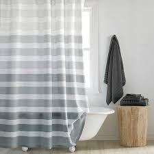 Grey shower curtain with horizontal stripes for a modern bathroom -  Highline Shower Curtain Bed Bath