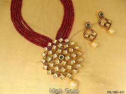 Antique Polki Jewellery Designs Kite Shape Rounded Designer Pendant Polki Jewellery