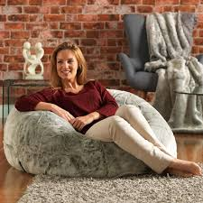 icon xl panelled faux fur bean bag chair extra large bean bags arctic wolf