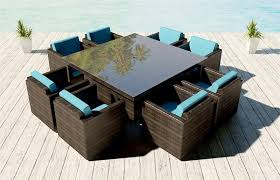 Brienne Viro Bronze Wicker Patio Furniture 9 Pc Dining Set Capri Blue