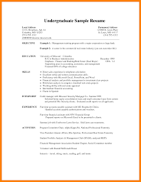 Undergraduate Student Cv Template Fitted Capture Examples Resume For