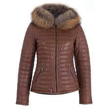quilted leather coat with fur trim hood in tan