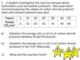 a student investigated the reaction between dilute hydrochloric acid and sodium carbonate one
