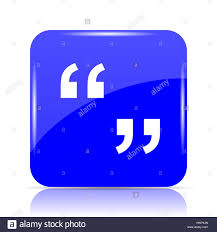 Quotation Marks Icon, Blue Website Button On White Background Stock ...