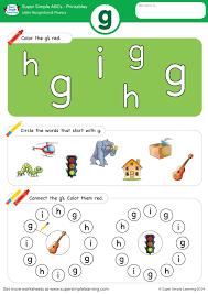 Letter Recognition & Phonics Worksheet - g (lowercase) - Super Simple