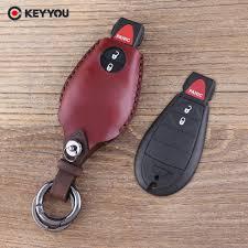 <b>KEYYOU Leather</b> Keychain 3 Button Car Key Shell For Chrysler 300 ...