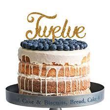 Amazoncom Twelve Happy Birthday Cake Topper Gold Glitter Acrylic