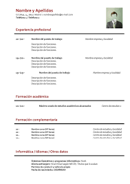 Formato Basico Formato Curriculum Basico Sin Experiencia Modelo Curriculum