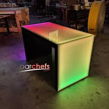 Lighted Desk Waterfall Series Led Light Up Table 57x30x34