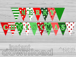 Merry Christmas Party Banner Polka Dot Striped Red And