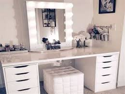 white makeup vanity set with lights