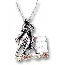 black hills gold on sterling silver barrel racer pendant necklace