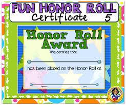 Principal Award Certificate Certificate Fun Honor Roll 5 A Teacher In Paradise