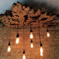 hand made large live edge olive wood chandelier with edison bulbs