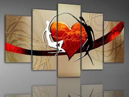 hand painted 5 piece wall art lovers dance color bridge home decoration abstract landscape canvas on wall art lovers with hand painted 5 piece wall art lovers dance color bridge home