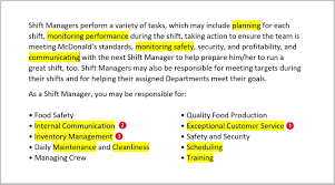 Mcdonalds Job Description For Resume Mcdonald's Fast Food Resume Job Description For Shift Managers 15