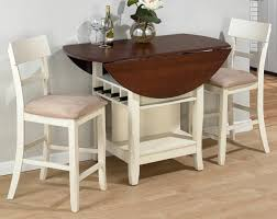 Shabby Chic Drop Leaf Dining Table For Small Spaces In Wooden With White  Comfy Chairs Beautified ...