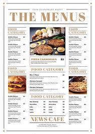 Restaurant Menu Book Design Newspaper Style Food Menus Food Menu Restaurant Menu