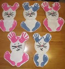 easy easter crafts for two year olds. kids handprint and footprint ideas: bunny using hand foot prints easy easter crafts for two year olds