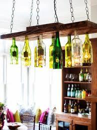 diy light fixtures industrial design hanging wood panel rustic wine bottle chandelier