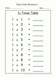 Kindergarten Kids Page: Printable 1 X Times Table Worksheets For ...