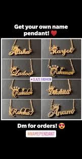 brass golden custom name pendant rs