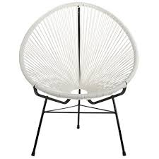 outdoor lounge chairs. Design Tree Home Acapulco Indoor/Outdoor Lounge Chair Weave On Black Frame, White Outdoor Chairs