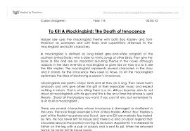 to kill a mockingbird the death of innocence there are several  document image preview