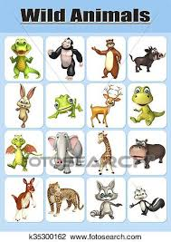 Drawing Chart Wild Animal Chart Drawing K35300162 Fotosearch