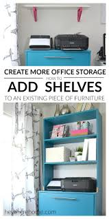 Who says a girl can't DIY shelves and make an old filing cabinet so much  better?