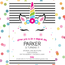 Birthday Invatations Personalized Kids Birthday Invitation Magical Mod Unicorn
