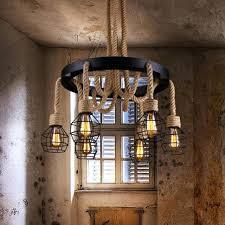 rope chandelier us 6 lights vintage hemp rope chandelier ceiling pendant wire cage lighting lamp rope