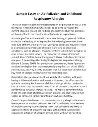 sample essay on air pollution and childhood respiratory allergies sample essay on air pollution and childhood respiratory allergies this is an executive summary that reports