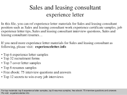 sales and leasing consultant experience letter in this file you can ref experience letter materials cover letter sales consultant