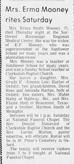 Mooney, Erma Smith obit, Clarksdale Press Register, Clarksdale, MS 1 Apr  1983 - Newspapers.com