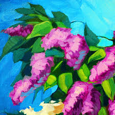 wet branch of lilac oil painting on canvas ilration stock ilration ilration