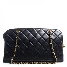 CHANEL Vintage Lambskin Quilted Shoulder Bag Black 76637 & CHANEL Vintage Lambskin Quilted Shoulder Bag Black Adamdwight.com